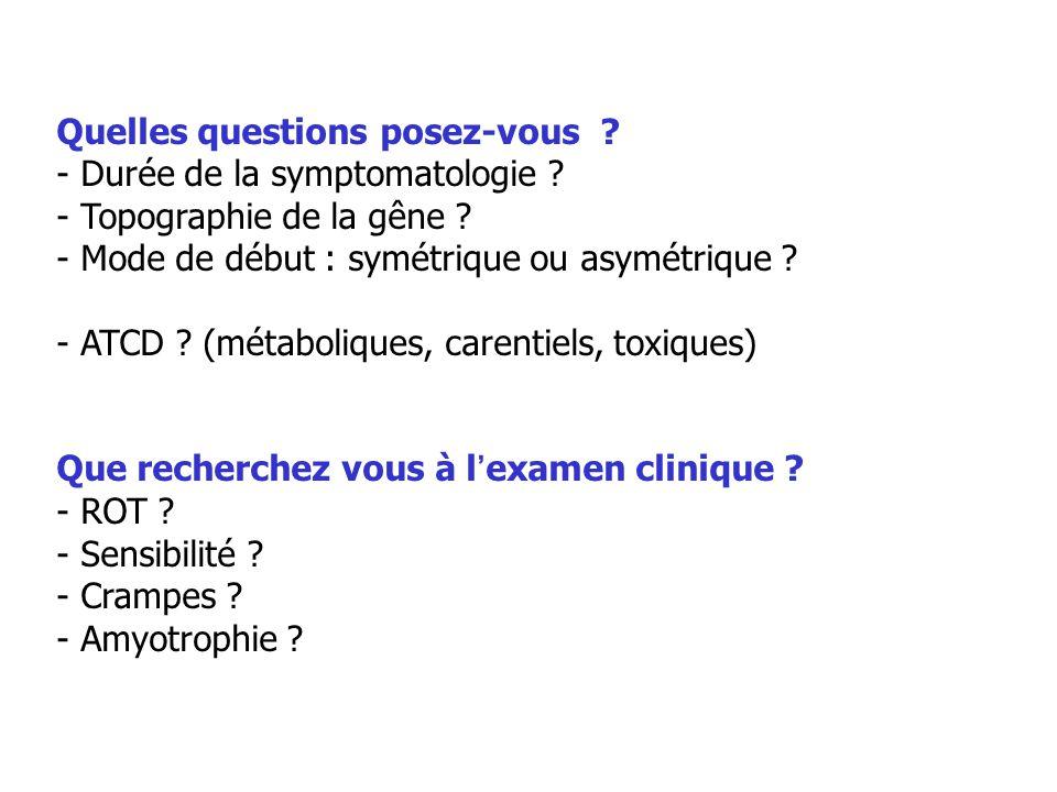 Quelles questions posez-vous ? - Durée de la symptomatologie ? - Topographie de la gêne ? - Mode de début : symétrique ou asymétrique ? - ATCD ? (méta