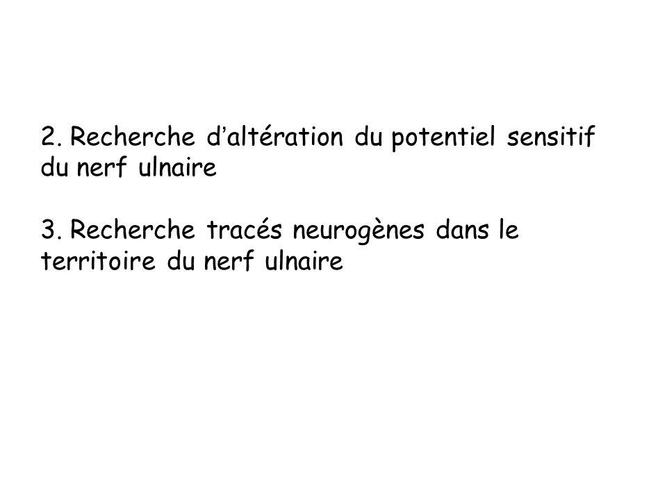 2. Recherche daltération du potentiel sensitif du nerf ulnaire 3. Recherche tracés neurogènes dans le territoire du nerf ulnaire