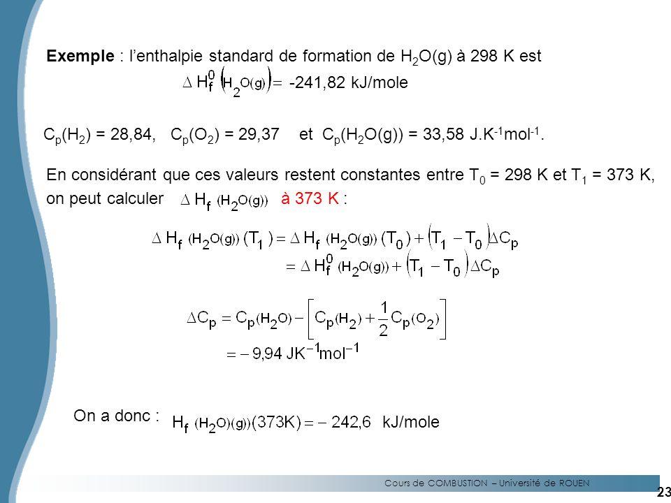 Cours de COMBUSTION – Université de ROUEN Exemple : lenthalpie standard de formation de H 2 O(g) à 298 K est -241,82 kJ/mole C p (H 2 ) = 28,84, C p (O 2 ) = 29,37 et C p (H 2 O(g)) = 33,58 J.K -1 mol -1.