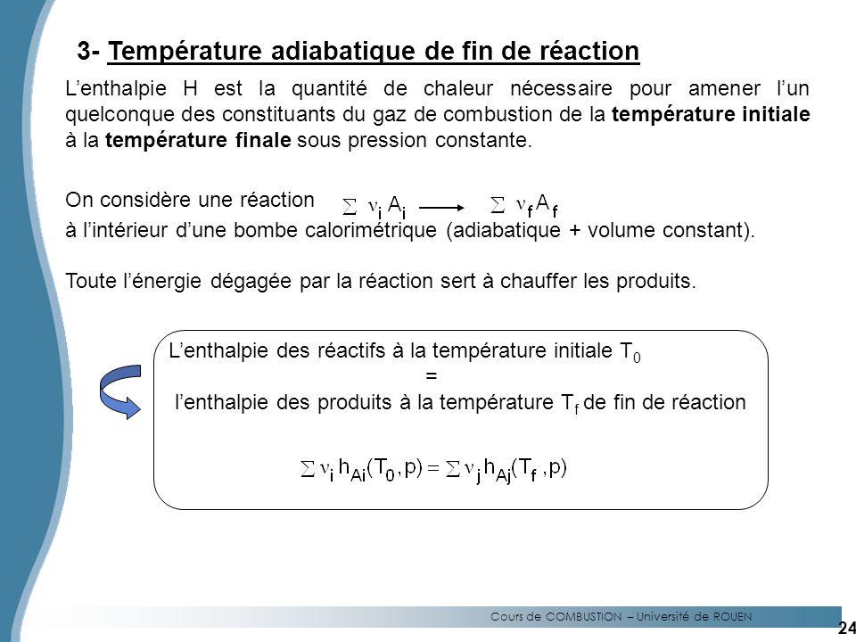 Cours de COMBUSTION – Université de ROUEN 3- Température adiabatique de fin de réaction Lenthalpie H est la quantité de chaleur nécessaire pour amener lun quelconque des constituants du gaz de combustion de la température initiale à la température finale sous pression constante.
