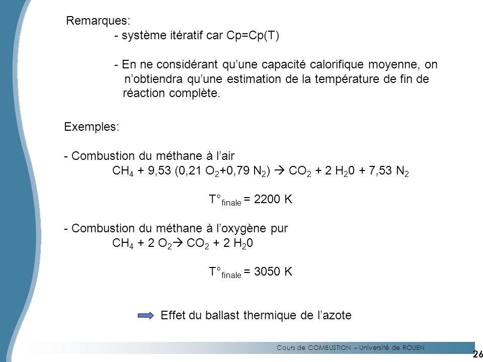 Remarques: - système itératif car Cp=Cp(T) - En ne considérant quune capacité calorifique moyenne, on nobtiendra quune estimation de la température de fin de réaction complète.