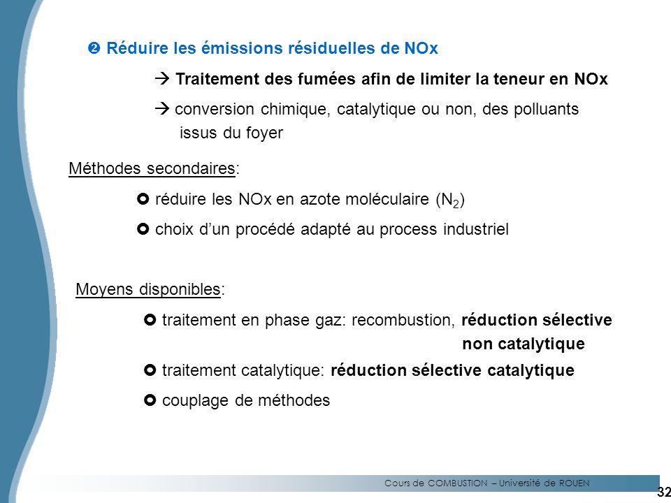 Cours de COMBUSTION – Université de ROUEN Réduire les émissions résiduelles de NOx Traitement des fumées afin de limiter la teneur en NOx conversion chimique, catalytique ou non, des polluants issus du foyer Méthodes secondaires: réduire les NOx en azote moléculaire (N 2 ) choix dun procédé adapté au process industriel Moyens disponibles: traitement en phase gaz: recombustion, réduction sélective non catalytique traitement catalytique: réduction sélective catalytique couplage de méthodes 32