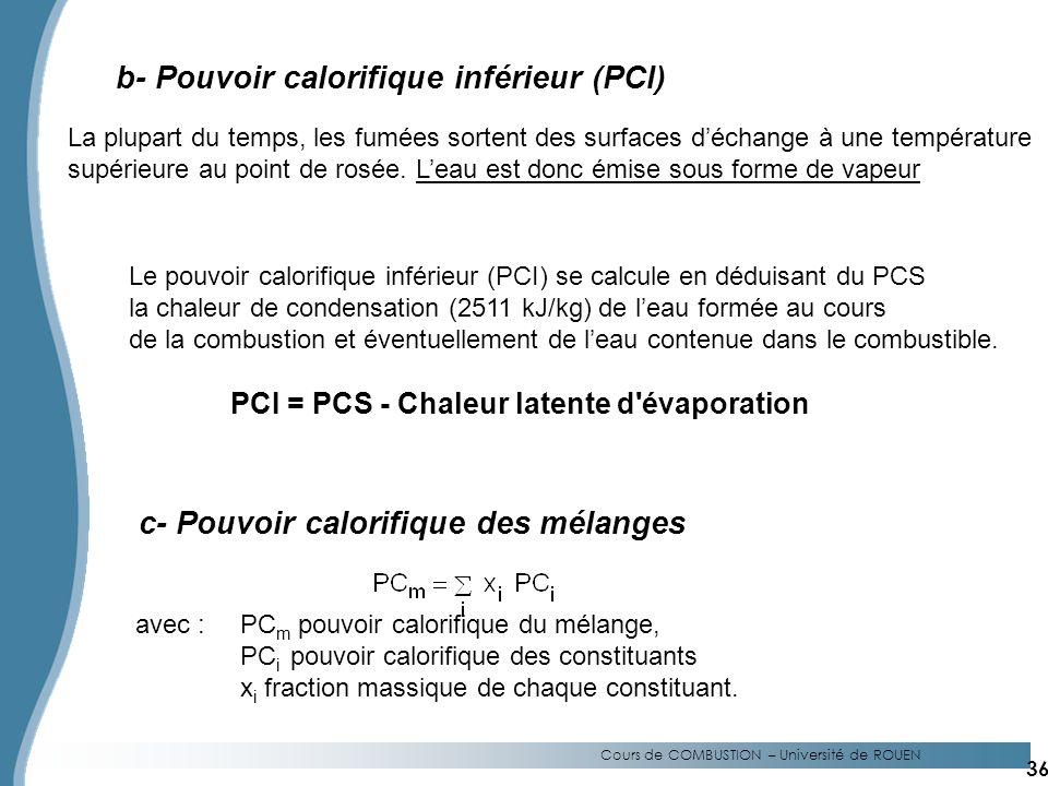Cours de COMBUSTION – Université de ROUEN b- Pouvoir calorifique inférieur (PCI) La plupart du temps, les fumées sortent des surfaces déchange à une température supérieure au point de rosée.