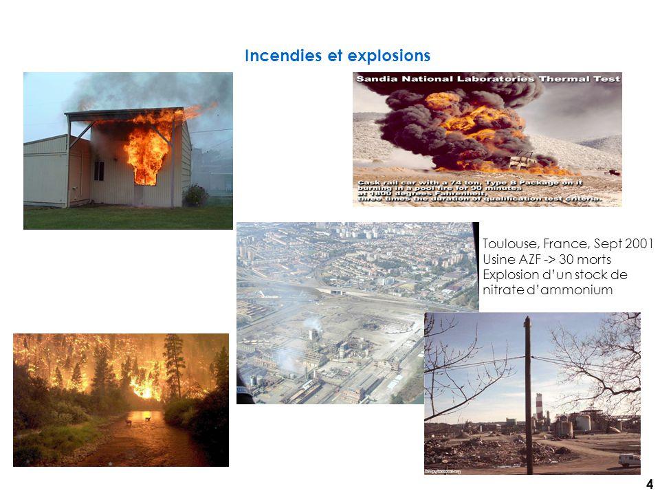 Incendies et explosions Toulouse, France, Sept 2001 Usine AZF -> 30 morts Explosion dun stock de nitrate dammonium 4
