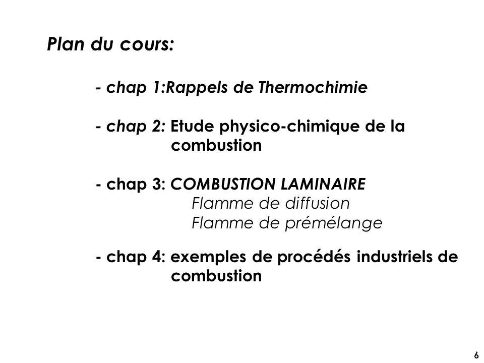 Plan du cours: - chap 1:Rappels de Thermochimie - chap 2: Etude physico-chimique de la combustion - chap 3: COMBUSTION LAMINAIRE Flamme de diffusion Flamme de prémélange - chap 4: exemples de procédés industriels de combustion 6