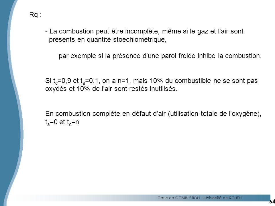 Cours de COMBUSTION – Université de ROUEN Rq : - La combustion peut être incomplète, même si le gaz et lair sont présents en quantité stoechiométrique, par exemple si la présence dune paroi froide inhibe la combustion.