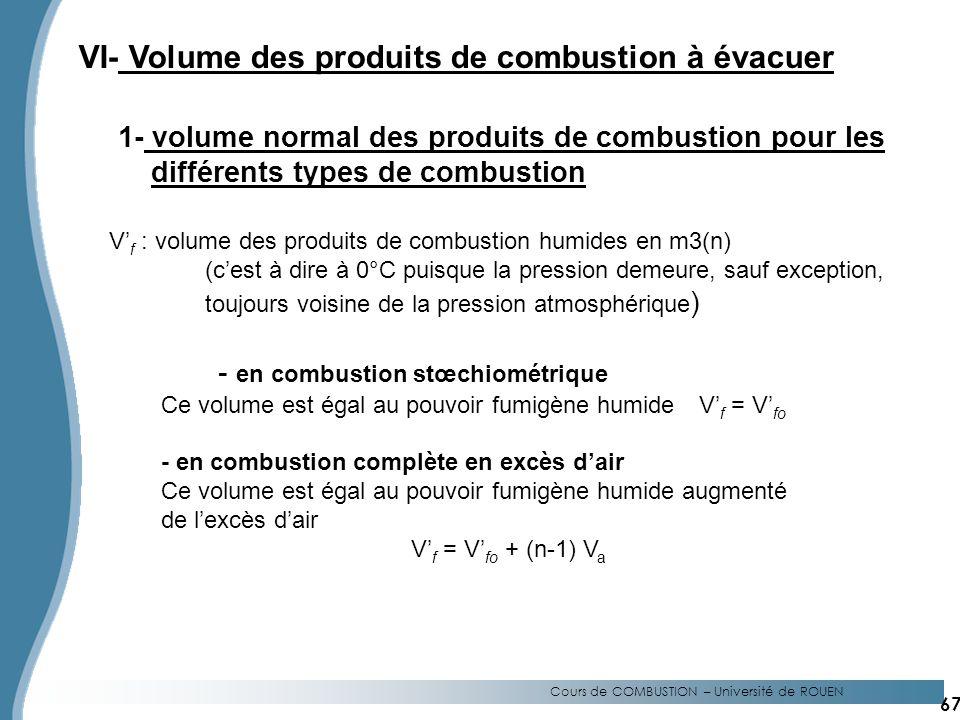 Cours de COMBUSTION – Université de ROUEN VI- Volume des produits de combustion à évacuer 1- volume normal des produits de combustion pour les différents types de combustion V f : volume des produits de combustion humides en m3(n) (cest à dire à 0°C puisque la pression demeure, sauf exception, toujours voisine de la pression atmosphérique ) - en combustion stœchiométrique Ce volume est égal au pouvoir fumigène humideV f = V fo - en combustion complète en excès dair Ce volume est égal au pouvoir fumigène humide augmenté de lexcès dair V f = V fo + (n-1) V a 67