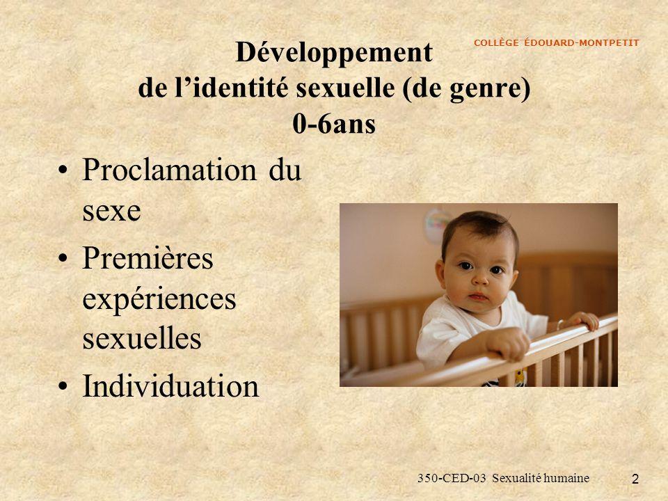 COLLÈGE ÉDOUARD-MONTPETIT 350-CED-03 Sexualité humaine 2 Développement de lidentité sexuelle (de genre) 0-6ans Proclamation du sexe Premières expérien