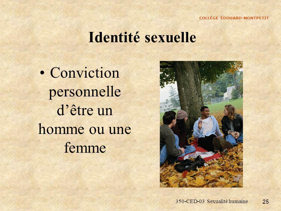 COLLÈGE ÉDOUARD-MONTPETIT 350-CED-03 Sexualité humaine 25 Identité sexuelle Conviction personnelle dêtre un homme ou une femme