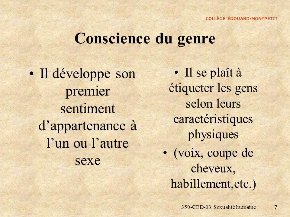 COLLÈGE ÉDOUARD-MONTPETIT 350-CED-03 Sexualité humaine 8 Stabilisation du genre Vers 4 ans Prise de conscience que le sexe anatomique est permanent