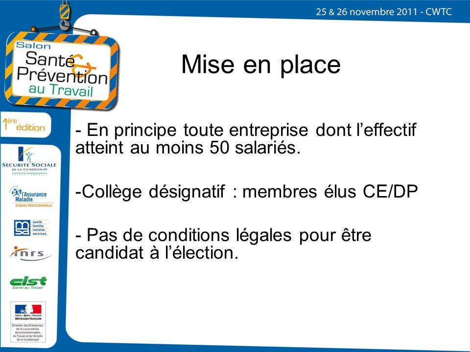 Mise en place - En principe toute entreprise dont leffectif atteint au moins 50 salariés. -Collège désignatif : membres élus CE/DP - Pas de conditions