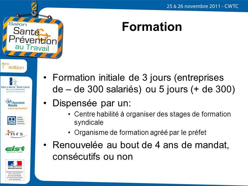 Formation Formation initiale de 3 jours (entreprises de – de 300 salariés) ou 5 jours (+ de 300) Dispensée par un: Centre habilité à organiser des sta