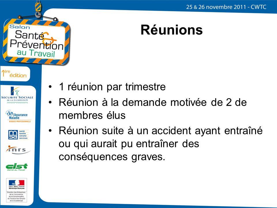 Réunions 1 réunion par trimestre Réunion à la demande motivée de 2 de membres élus Réunion suite à un accident ayant entraîné ou qui aurait pu entraîn