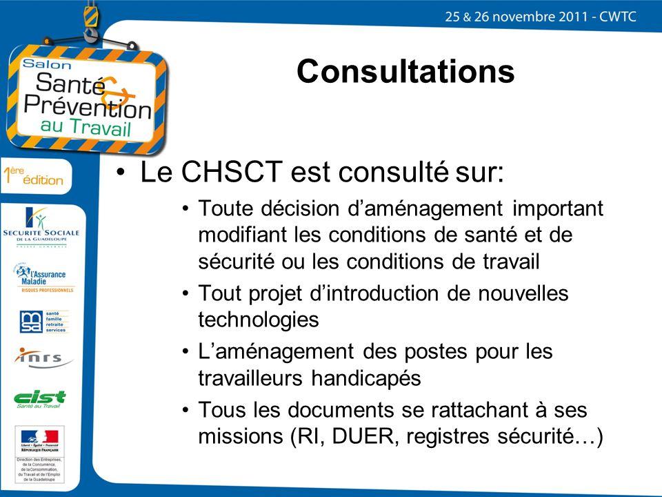 Consultations Le CHSCT est consulté sur: Toute décision daménagement important modifiant les conditions de santé et de sécurité ou les conditions de t