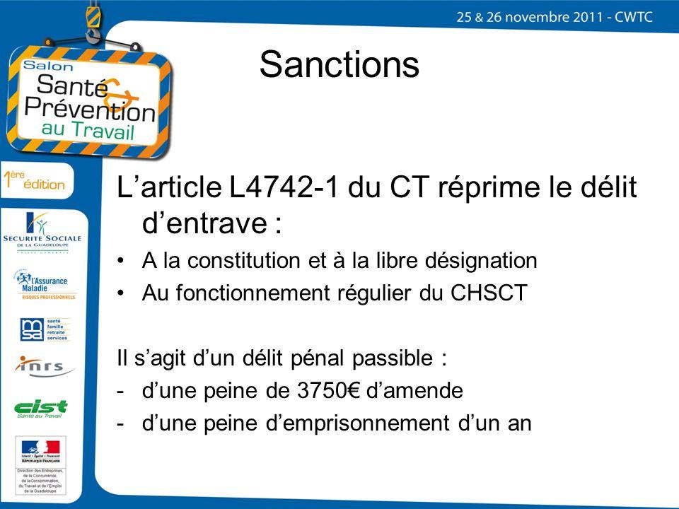 Sanctions Larticle L4742-1 du CT réprime le délit dentrave : A la constitution et à la libre désignation Au fonctionnement régulier du CHSCT Il sagit