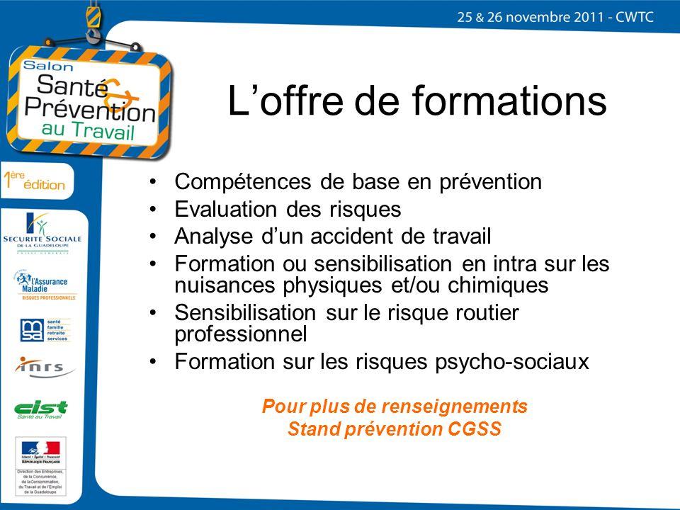 Loffre de formations Compétences de base en prévention Evaluation des risques Analyse dun accident de travail Formation ou sensibilisation en intra su