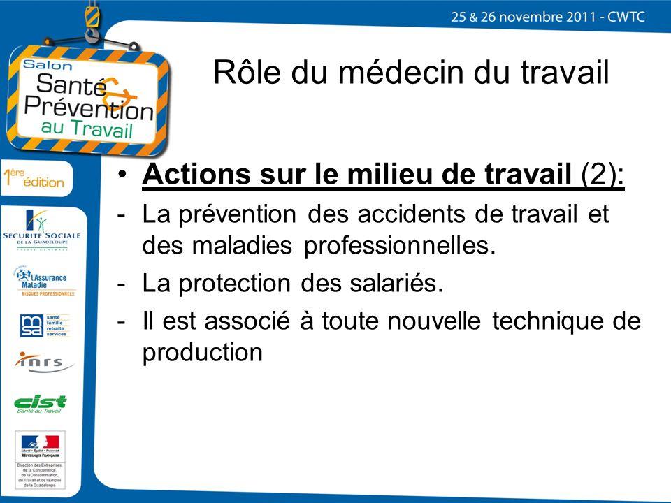 Rôle du médecin du travail Actions sur le milieu de travail (2): -La prévention des accidents de travail et des maladies professionnelles. -La protect