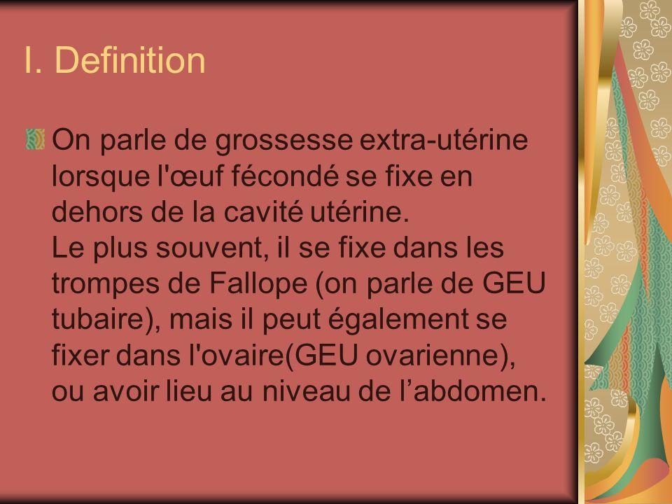 I. Definition On parle de grossesse extra-utérine lorsque l'œuf fécondé se fixe en dehors de la cavité utérine. Le plus souvent, il se fixe dans les t
