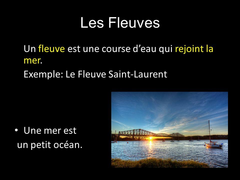 Un fleuve est une course deau qui rejoint la mer. Exemple: Le Fleuve Saint-Laurent Une mer est un petit océan.