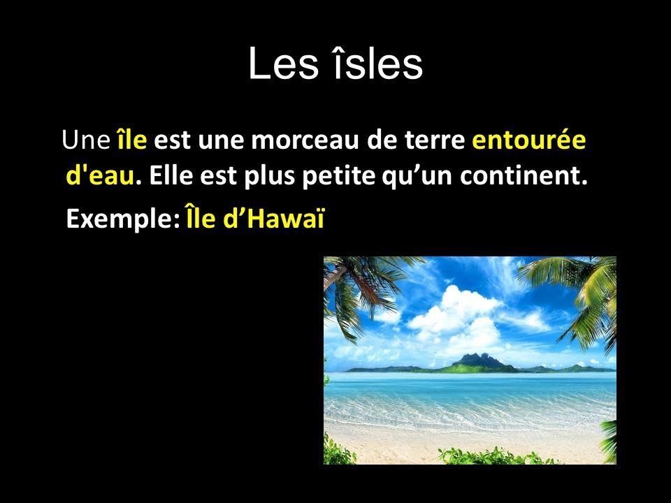 Les îsles Une île est une morceau de terre entourée d'eau. Elle est plus petite quun continent. Exemple: Île dHawaï