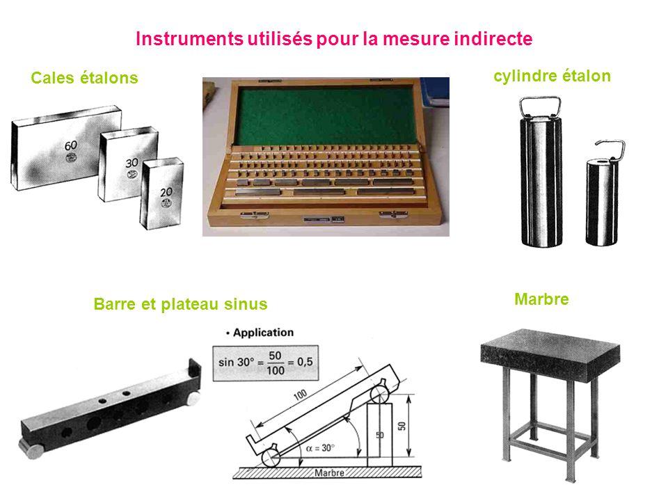 Instruments utilisés pour la mesure indirecte Cales étalons Marbre cylindre étalon Barre et plateau sinus