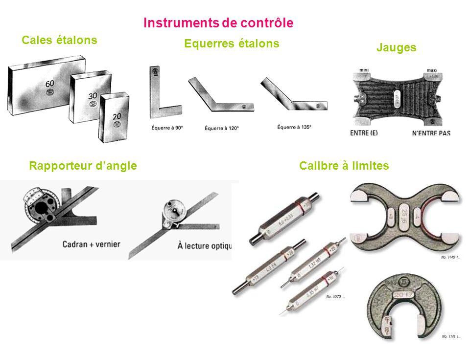 Instruments de contrôle Cales étalons Equerres étalons Rapporteur dangle Jauges Calibre à limites