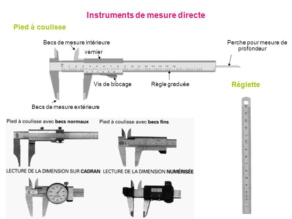 Instruments de mesure directe Pied à coulisse Règle graduéeVis de blocage Perche pour mesure de profondeur Becs de mesure extérieure Becs de mesure in