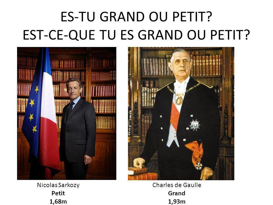 ES-TU GRAND OU PETIT? EST-CE-QUE TU ES GRAND OU PETIT? Nicolas Sarkozy Petit 1,68m Charles de Gaulle Grand 1,93m
