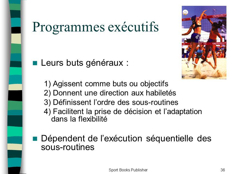 Sport Books Publisher36 Programmes exécutifs Leurs buts généraux : 1) Agissent comme buts ou objectifs 2) Donnent une direction aux habiletés 3) Défin