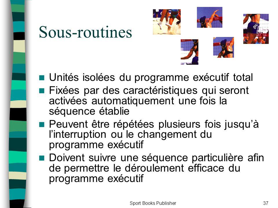 Sport Books Publisher37 Sous-routines Unités isolées du programme exécutif total Fixées par des caractéristiques qui seront activées automatiquement u