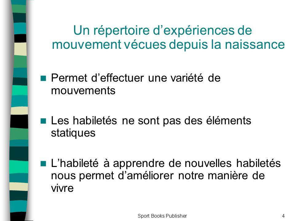 4 Un répertoire dexpériences de mouvement vécues depuis la naissance Permet deffectuer une variété de mouvements Les habiletés ne sont pas des élément