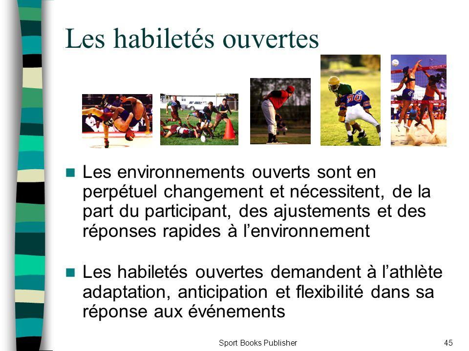 Sport Books Publisher45 Les habiletés ouvertes Les environnements ouverts sont en perpétuel changement et nécessitent, de la part du participant, des