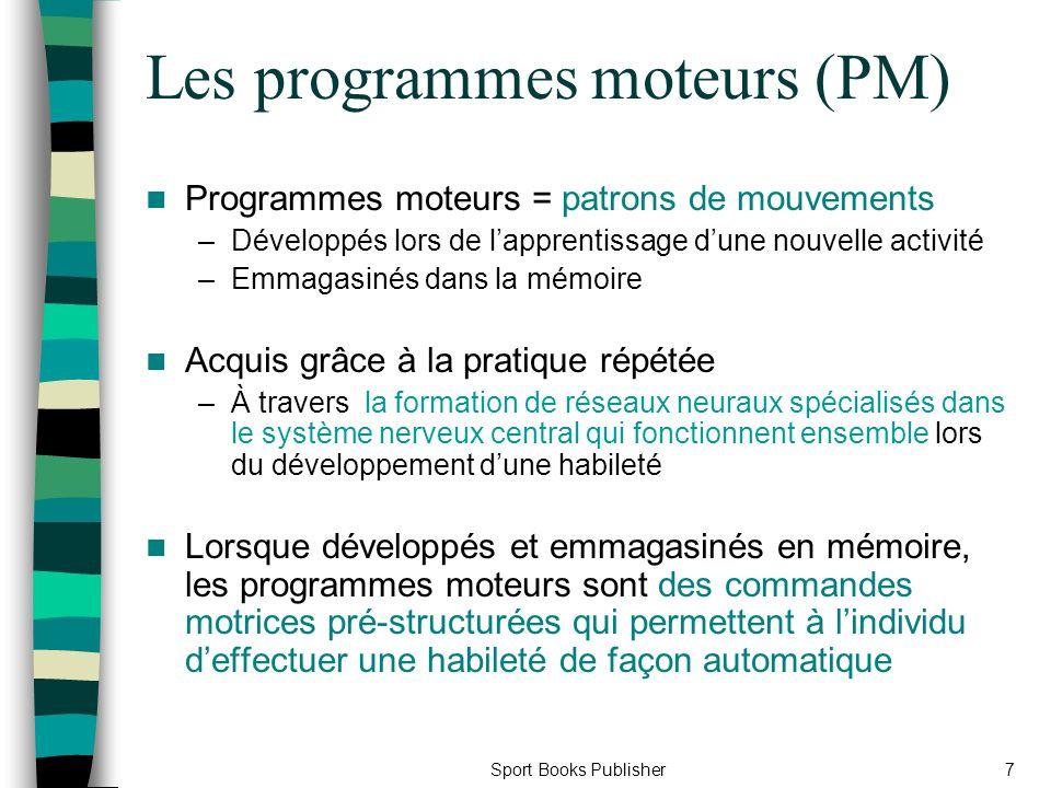 Sport Books Publisher7 Les programmes moteurs (PM) Programmes moteurs = patrons de mouvements –Développés lors de lapprentissage dune nouvelle activit