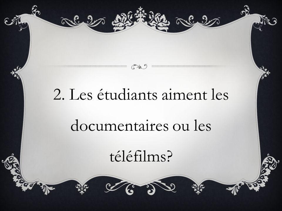 2. Les étudiants aiment les documentaires ou les téléfilms?