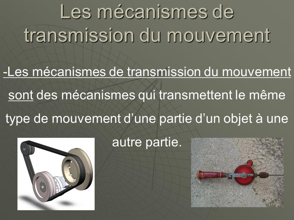 Les mécanismes de transmission du mouvement -Les mécanismes de transmission du mouvement sont des mécanismes qui transmettent le même type de mouvement dune partie dun objet à une autre partie.