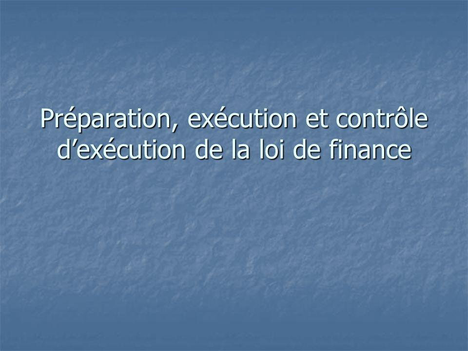 Préparation, exécution et contrôle dexécution de la loi de finance