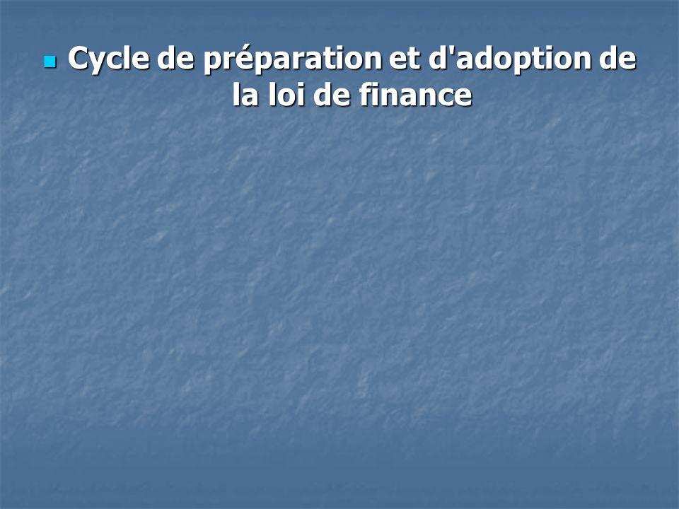 Cycle de préparation et d'adoption de la loi de finance Cycle de préparation et d'adoption de la loi de finance