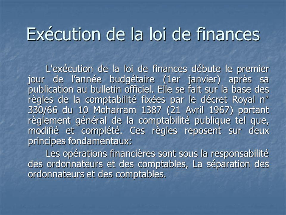 Exécution de la loi de finances L'exécution de la loi de finances débute le premier jour de lannée budgétaire (1er janvier) après sa publication au bu