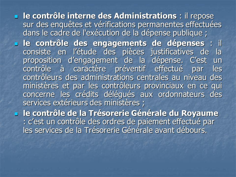le contrôle interne des Administrations : il repose sur des enquêtes et vérifications permanentes effectuées dans le cadre de l'exécution de la dépens