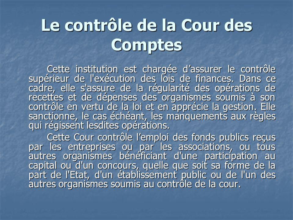 Le contrôle de la Cour des Comptes Cette institution est chargée dassurer le contrôle supérieur de l'exécution des lois de finances. Dans ce cadre, el