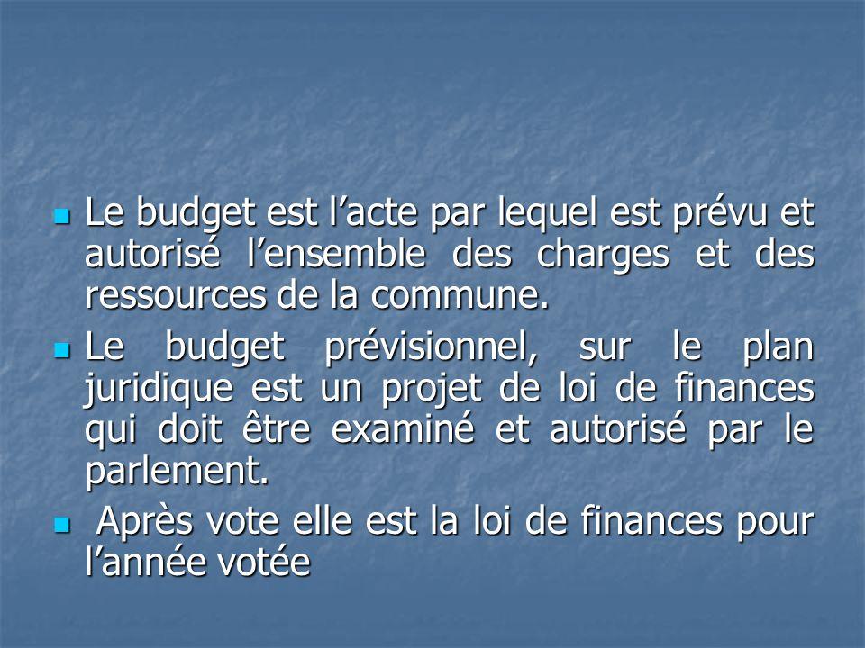 Le budget est lacte par lequel est prévu et autorisé lensemble des charges et des ressources de la commune. Le budget est lacte par lequel est prévu e