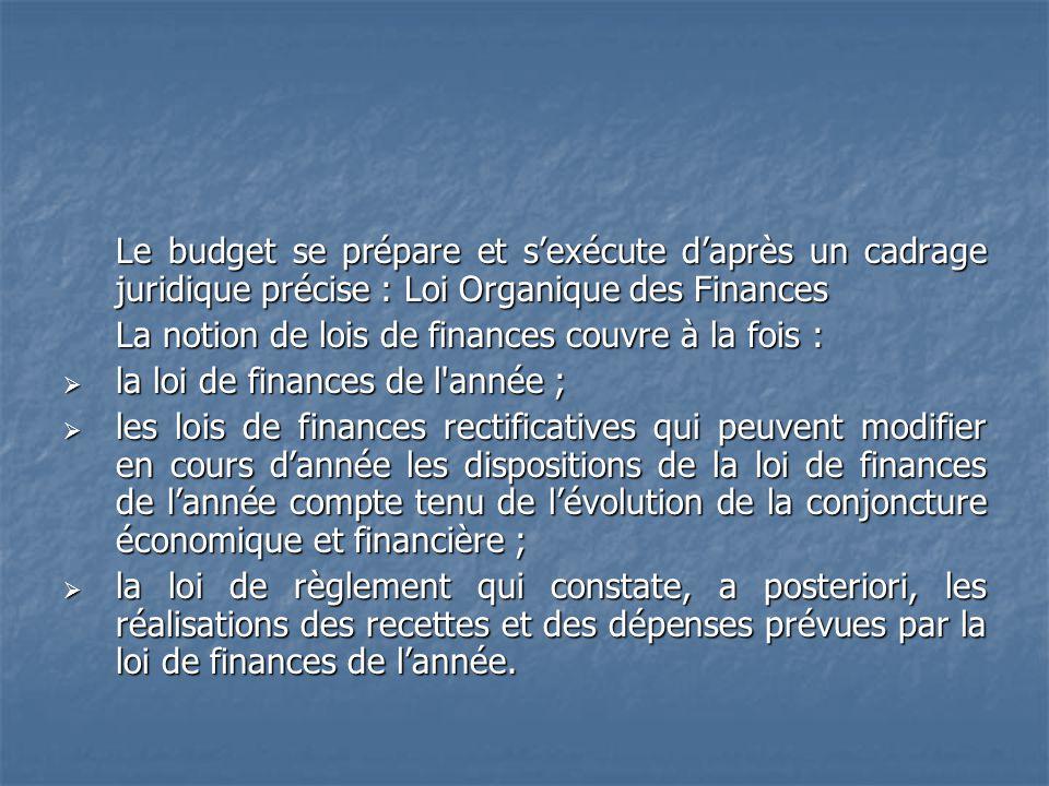 Le budget se prépare et sexécute daprès un cadrage juridique précise : Loi Organique des Finances La notion de lois de finances couvre à la fois : la