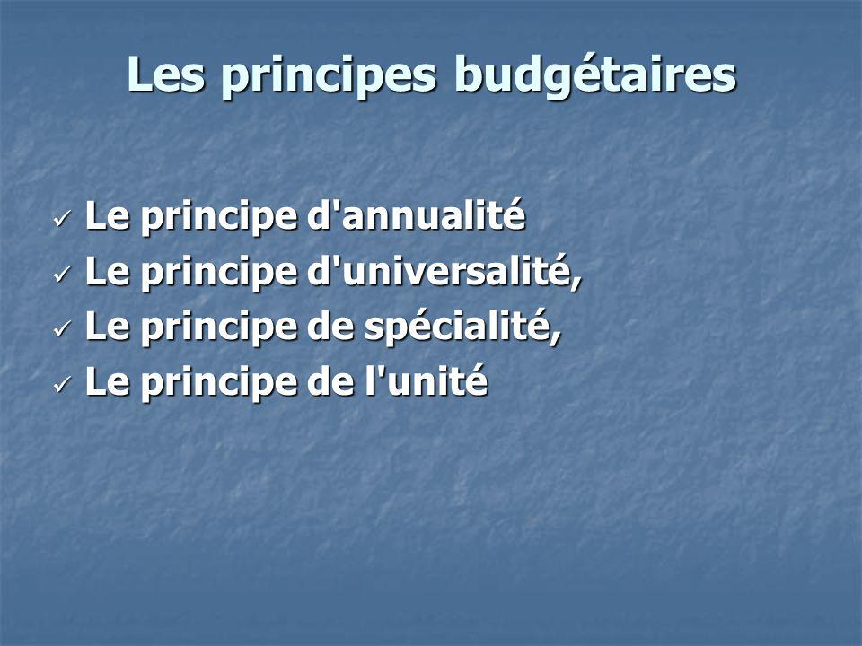 Les principes budgétaires Le principe d'annualité Le principe d'annualité Le principe d'universalité, Le principe d'universalité, Le principe de spéci