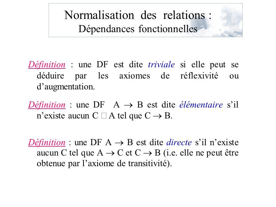 Normalisation des relations : Dépendances fonctionnelles Définition : une DF est dite triviale si elle peut se déduire par les axiomes de réflexivité