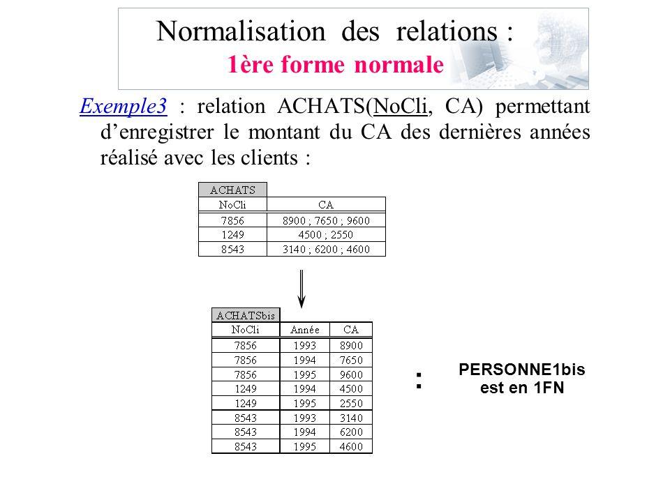 Normalisation des relations : 1ère forme normale Exemple3 : relation ACHATS(NoCli, CA) permettant denregistrer le montant du CA des dernières années r