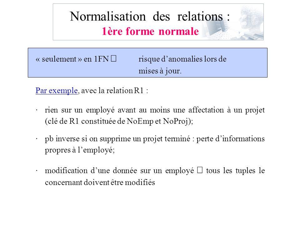 Normalisation des relations : 1ère forme normale « seulement » en 1FN risque danomalies lors de mises à jour. Par exemple, avec la relation R1 : ·rien