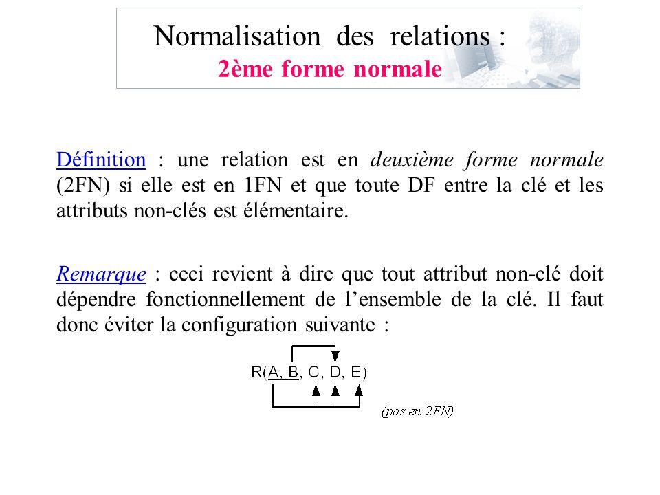 Normalisation des relations : 2ème forme normale Définition : une relation est en deuxième forme normale (2FN) si elle est en 1FN et que toute DF entr