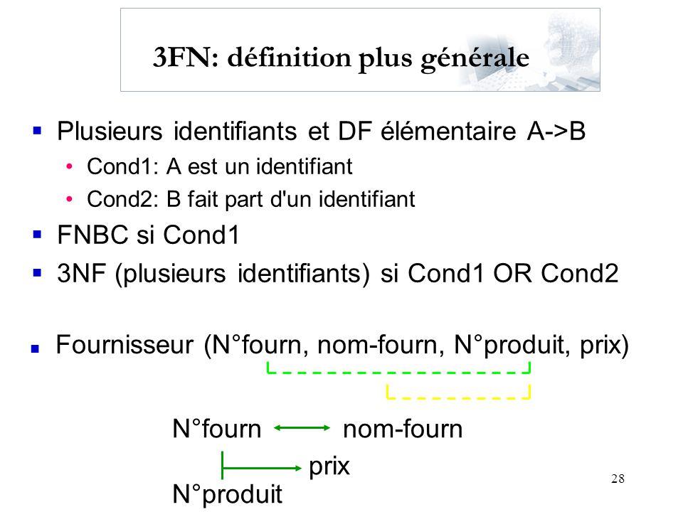 28 3FN: définition plus générale Plusieurs identifiants et DF élémentaire A->B Cond1: A est un identifiant Cond2: B fait part d'un identifiant FNBC si