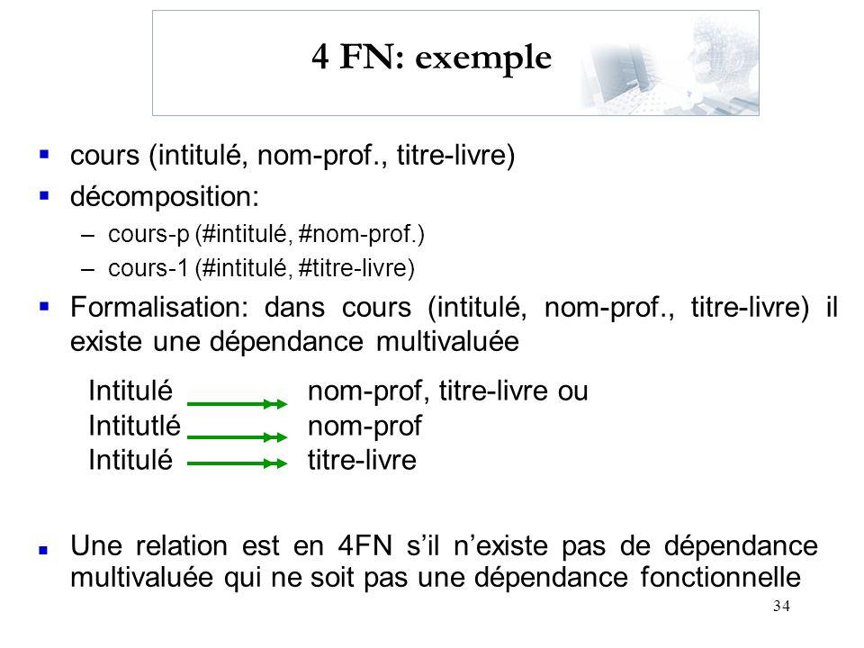 34 4 FN: exemple cours (intitulé, nom-prof., titre-livre) décomposition: –cours-p (#intitulé, #nom-prof.) –cours-1 (#intitulé, #titre-livre) Formalisa