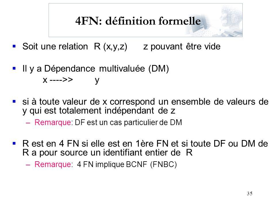 35 4FN: définition formelle Soit une relation R (x,y,z) z pouvant être vide Il y a Dépendance multivaluée (DM) x ---->>y si à toute valeur de x corres